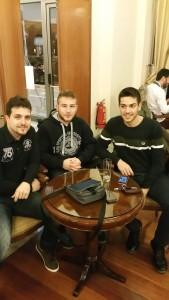 Οι αθλητές Π.Κομνηνός, Λ. Μαντάς και Α.Ροδόπουλος
